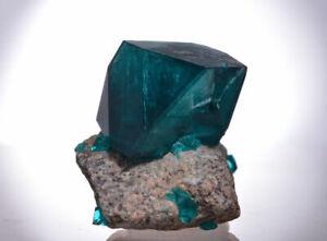 Nickelboussingaultitgruen-wie-Dioptasekristall-auf-Matrix-aus-polnischer-Probe