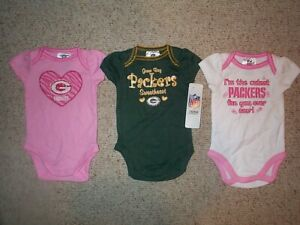 3-PIECE-Green-Bay-Packers-nfl-INFANT-BABY-NEWBORN-Jersey-Shirt-0-3M-0-3-Months