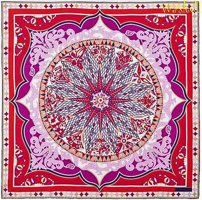 "EMILIO PUCCI red PAVIMENTO wheel silk twill 34"" Square LARGE scarf NWT Authentic"