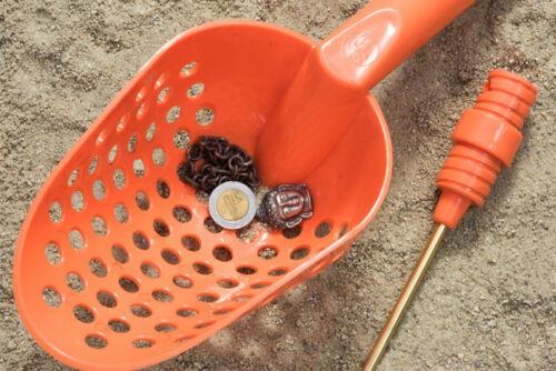 Tough Durable ORANGE Plastic Beach Sand Scoop With Brass Probe Metal Detector
