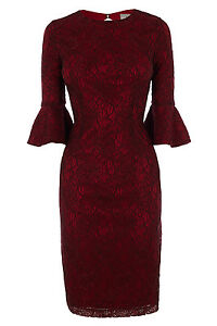 8 Rrp Cloche Allurea Coast 135 Robe Bnwt Taille Crayon Wiggle Dentelle Manches BSOFwqp