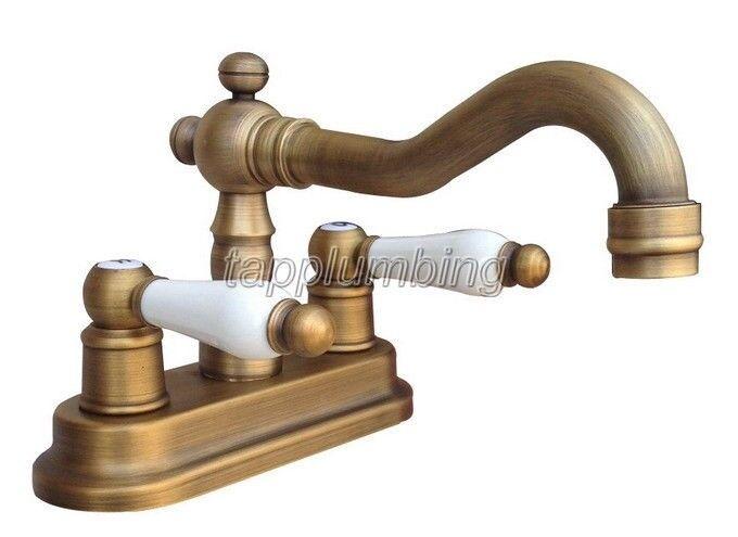 Laiton antique pivotant salle de bains robinet Froid et Chaud navire évier mitigeur