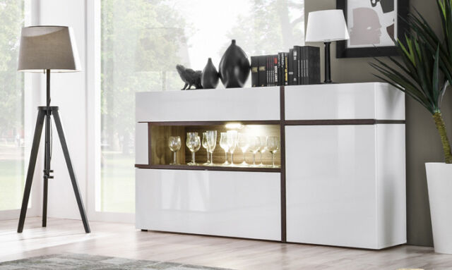 Sb Chandler Contemporary White Sideboard Dining Room Buffet Cabinet