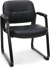 Bonded Leather Executive Side Chair With Sled Base Black Home And Commercial