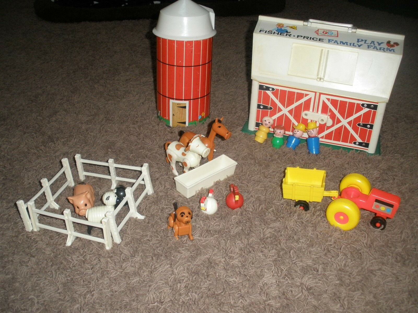 Vtg Fisher Price Little People Farm Barn Silo Set Made in USA 1967+EXTRAS