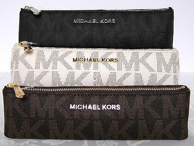 Michael Kors Jet Set Signature Logo Pencil Case Cosmetic VANILLA New NWT
