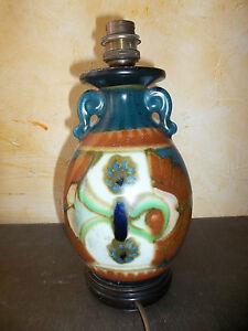 Ancien Vase Asiatique En Céramique Monté En Lampe Parfait état Apparence EsthéTique