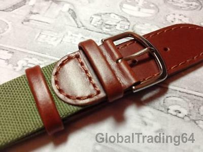 SUPERIOR QUALITY MILITARY N.A.T.O. LEATHER / NYLON Brown & Green Watch Strap