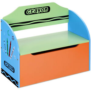 Charmant Image Is Loading Crayon Themed Wood Toy Storage Box And Bench