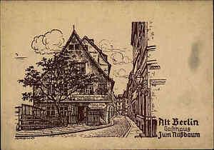 Alt-BERLIN-Greko-Kuenstlerkarte-1930-Strassen-Partie-am-Gasthaus-Zum-Nussbaum