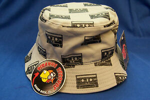 d6e0940981540 Black Cassette Printed Gray Full-Brim Bucket Hat ONE SIZE Piranha ...