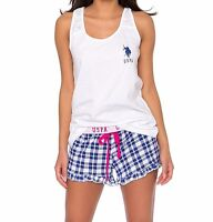 US Polo Assn. Women's 2 Piece Printed Racer Back Tank and Shorts Pajama set