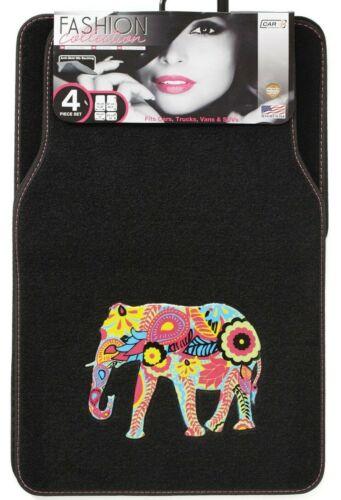 4pce Sumex Colourful Fun Asian Indian Elephant Universal Car Van Carpet Mat Set