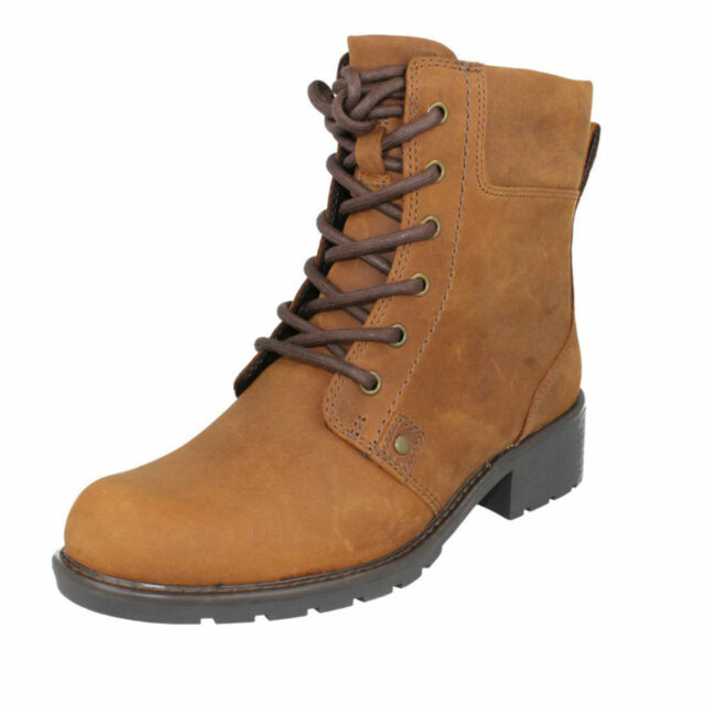 8ab2b52da731f Clarks Orinoco Spice Ladies Brown Snuff Leather Wide Fit Ankle Boot ...