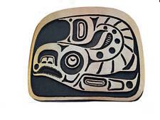 Bronze Salmon Belt Buckle Native American Totem Pole Northwest Art Indian Fish