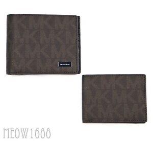 03c1b87200bfeb New in box Michael Kors Men JET SET Brown Logo Passcase ID Billfold ...