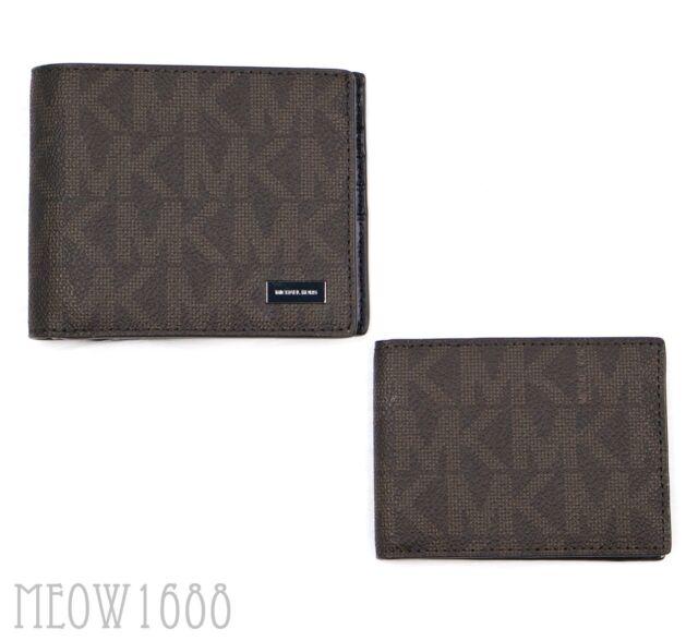 2d337963747f New in box Michael Kors Men JET SET Brown Logo Passcase ID Billfold Wallet  $128
