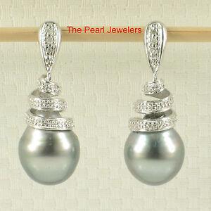 14k-White-Solid-Gold-Diamonds-Black-Gray-Tahitian-Pearl-Dangle-Stud-Earrings-TPJ