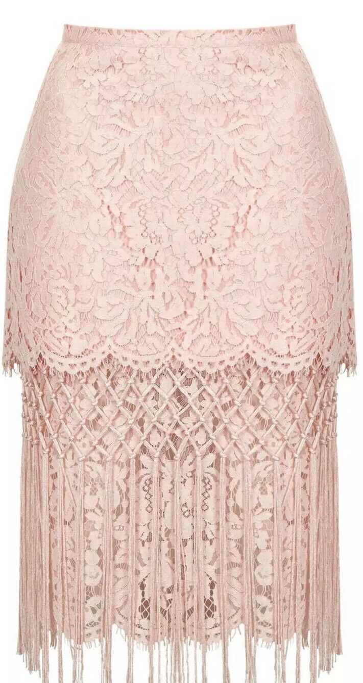 TopShop Fringe Lace Pencil Skirt, Peach, size 4US  8UK