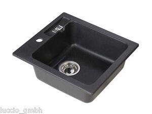 Details zu Hochwertige Granit Spüle Küche Einbauspüle Spültisch Spülbecken  in Schwarz