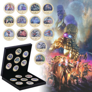 14pc-Marvel-039-s-Comics-The-Avengers-iron-Man-Gold-Commemorative-Coin-In-Gifts-Box