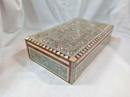 """Egyptian Mother of Pearl Paua Geometric Wooden Inlaid Jewelry Box 10/"""" X6.5/"""" #558"""