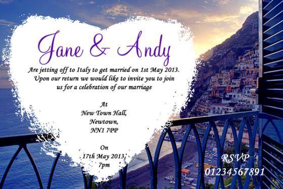 Côte amalfitaine en italie coeur personnalisé mariage invitations () () () () 786ab4