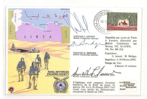 AH175 1979 Tunisia Tunis Air RAF Escaping Society Signed Cover PTS