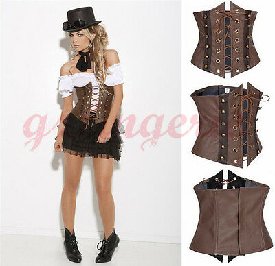 Steam Punk Style Underbust Corset Waist Cincher Cupless Lace Up