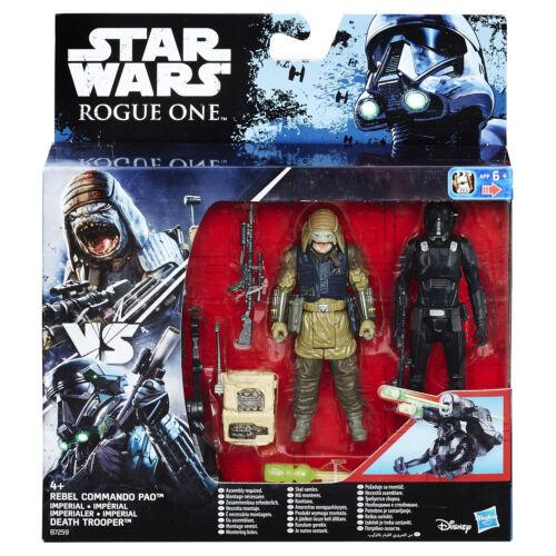 "Star Wars Rogue One 3.75/"" Rebel Commando Pao vs Imperial Death Trooper figures"