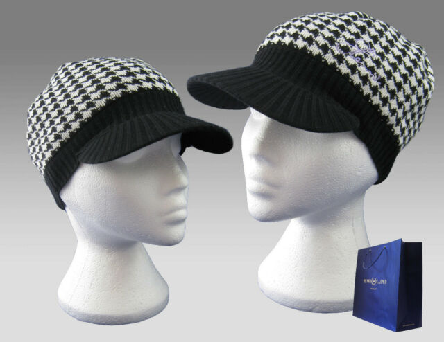 Henri Lloyd Women Signature Peaked Beanie Hat Cap Black White Dogtooth AUTHENTIC