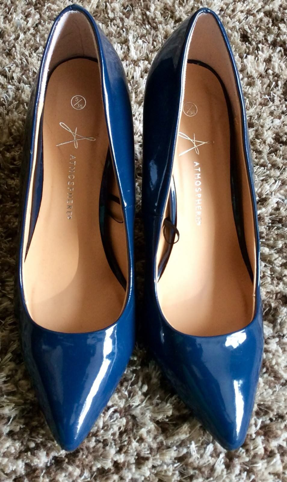 Atmosphere. Ladies. Court Royal Blue. Patent Stiletoe Court Ladies. Shoes 80f703