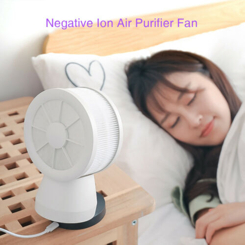 Air Purifier Fan Filter Generator HEPA Home Cool Ionizer USB Low Noise Household