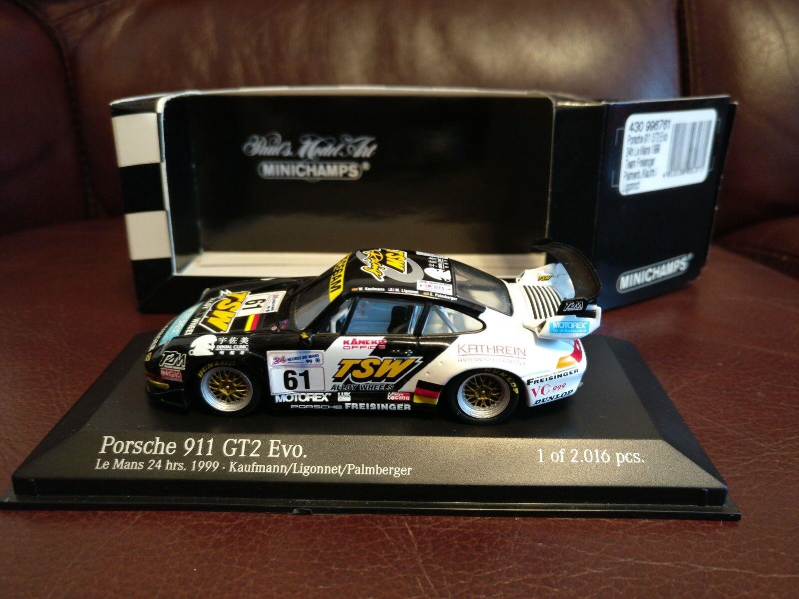 Minichamps PORSCHE 911 GT2 EVO (993) Le Mans 24 HR 1999  61 modello 1 43 MOLTO RARO