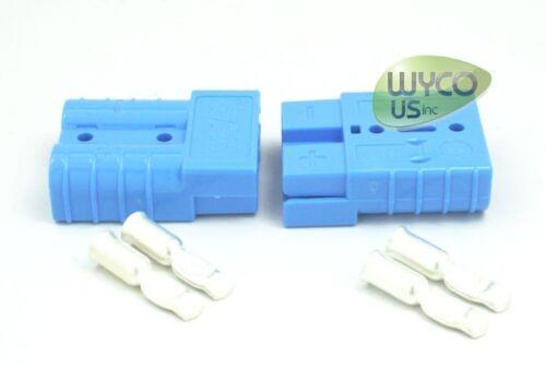 """SMALL BLUE 2 ANDERSON CONNECTORS+8 GAUGE CONTACTS 1-7//8/""""x1-7//16/"""" SB50A-600V"""