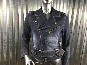 Decoded-Jean-Women-Fitted-Belted-Moto-Jacket-Zipper-amp-Button-Pocket-Details-Sz-M