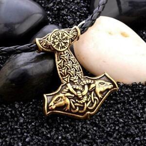 Herren-Nordic-Viking-Mjolnir-Anhaenger-Lederband-Thors-Hammer-Halskette-X1S4