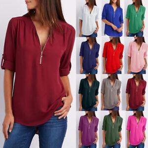 Womens-Long-Sleeve-Chiffon-Tee-Work-Shirt-Basic-Ladies-Blouse-Loose-Zipper-Tops
