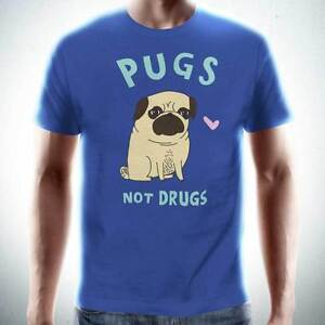PUGS-NOT-DRUGS-Unisex-T-Shirt-Funny-Dog-Mens-Tee-Lovers-Puppy-NEW