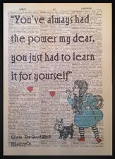 Wizard Of Oz Quote Vintage Dictionary Print Wall Art Picture Dorothy Red Shoes