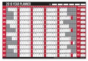 2019 Year Wall Planner Holiday Planner Including Pen and Stickers Office or Home 5012128514647