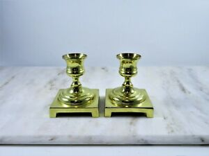 Brass-Candle-Holders-Pair-Short-Tapers-Vintage-1960s-Square-Base-Classic-Turned