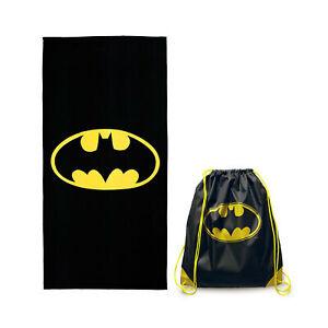 Hermet Telo Mare Microfibra Batman 70 x 140 cm Con Sacca Prodotto Ufficiale