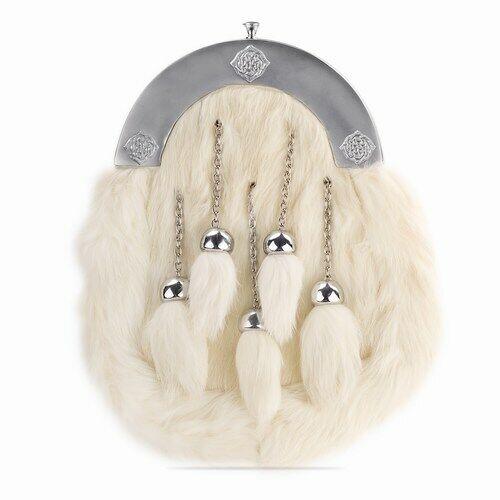 Tartan Republic White Rabbit Fur Kilt Sporran 5 Tassel Antique Finish with Belt