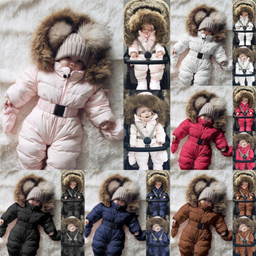 Toddler Baby Boy Girl Winter Romper Jacket Hooded Jumpsuit Thick Coat Outfits