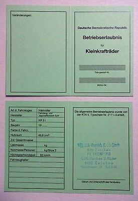 Roller-Teile ECHT ORIGINAL DDR TYPENSCHILD SIMSON SCHWALBE KR 51/1 ...