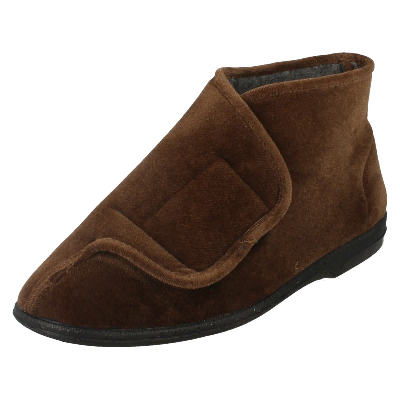 SALE Balmoral 'Thomas' Men's Boot Brown Wide Opening Riptape Boot Men's Slippers 6881df
