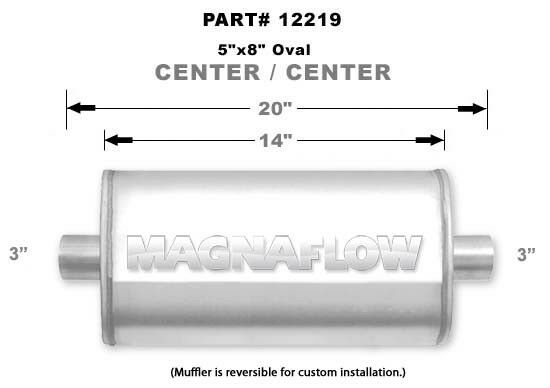 """MagnaFlow 12219 Muffler 3/"""" Inlet//3/"""" Outlet Stainless Steel Natural Each"""