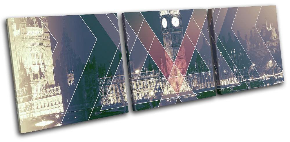 London UK Abstract Geometric Geometric Geometric City TREBLE TELA parete arte foto stampa 1d3ca2