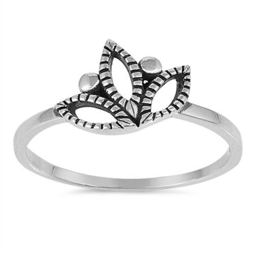 Plain Lotus Flower .925 Sterling Silver Ring Sizes 4-10